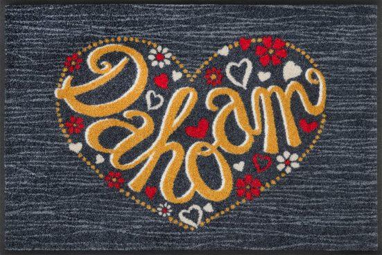 Fußmatte »Dahoam«, wash+dry by Kleen-Tex, rechteckig, Höhe 7 mm, In- und Outddor geeignet