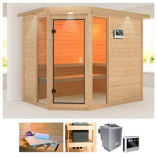 KARIBU Sauna »Sinai 3«, 264x198x212 cm, 9 kW Bio-Ofen mit ext. Steuerung, Dachkranz