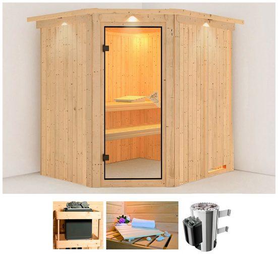 KARIBU Sauna »Holli«, 210x184x202 cm, 3,6 kW Plug & Play Ofen mit int. Steuerung