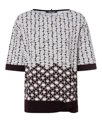 Olsen Print-Shirt mit Allover-Print und Knotendetail am Saum
