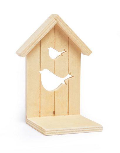 """VBS Holz-Teelichtständer """"Vogelhaus"""" 13 cm x 9,5 cm x 7,5 cm"""