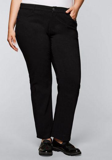 Sheego Stretch-Hose mit gerader Beinform, innen leicht angeraut