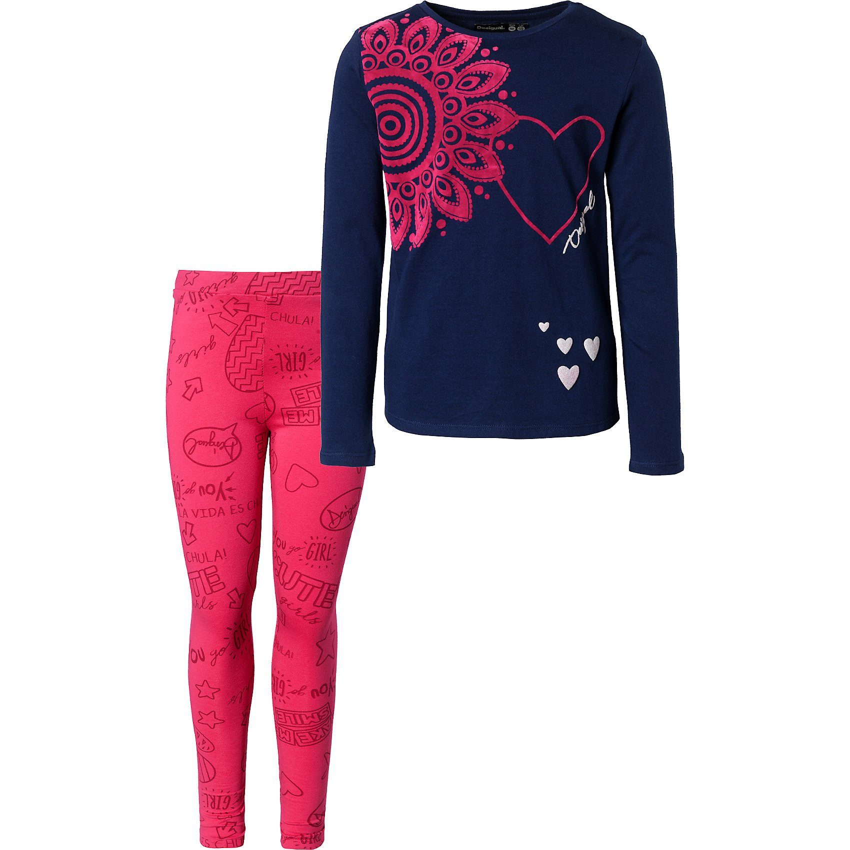 Damen,  Mädchen,  Kinder Desigual Set Langarmshirt + Leggings für Mädchen blau | 08434486839663