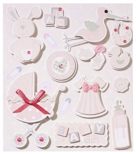 "3D Sticker ""Baby Girl II"" 13 Stück"