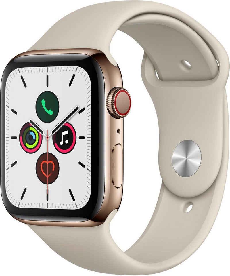Apple Series 5 GPS + Cellular, Edelstahlgehäuse mit Sportarmband 44mm Watch (Watch OS 6)