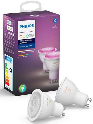 Philips Hue »White and Color Ambiance Doppelpack 2x350lm« LED-Leuchtmittel, GU10, 2 Stück, Warmweiß, Tageslichtweiß, Neutralweiß, Extra-Warmweiß, Farbwechsler