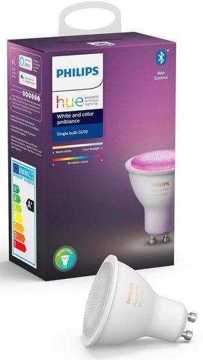 Philips Hue »White and Color Ambiance Einzelpack 1x350lm« LED-Leuchtmittel, GU10, 1 Stück, Warmweiß, Tageslichtweiß, Neutralweiß, Extra-Warmweiß, Farbwechsler