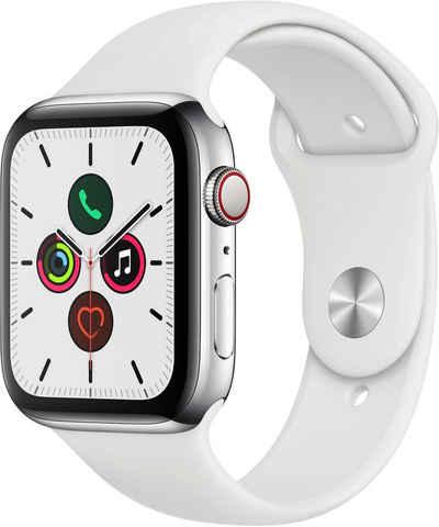 Apple Series 5 GPS + Cellular, Edelstahlgehäuse mit Sportarmband 44mm Watch (Watch OS 6), inkl. Ladestation (magnetisches Ladekabel)