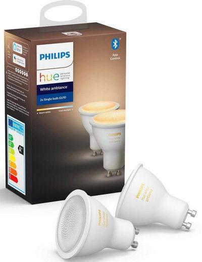 Philips Hue »White Ambiance Doppelpack 2x350lm« LED-Leuchtmittel, GU10, 2 Stück, Warmweiß, Tageslichtweiß, Neutralweiß, Extra-Warmweiß