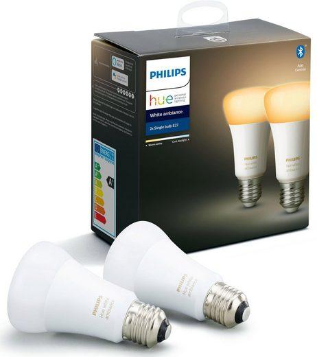 Philips Hue »White Ambiance Doppelpack 2x806lm« LED-Leuchtmittel, E27, 2 Stück, Warmweiß, Tageslichtweiß, Neutralweiß, Extra-Warmweiß, Farbwechsler