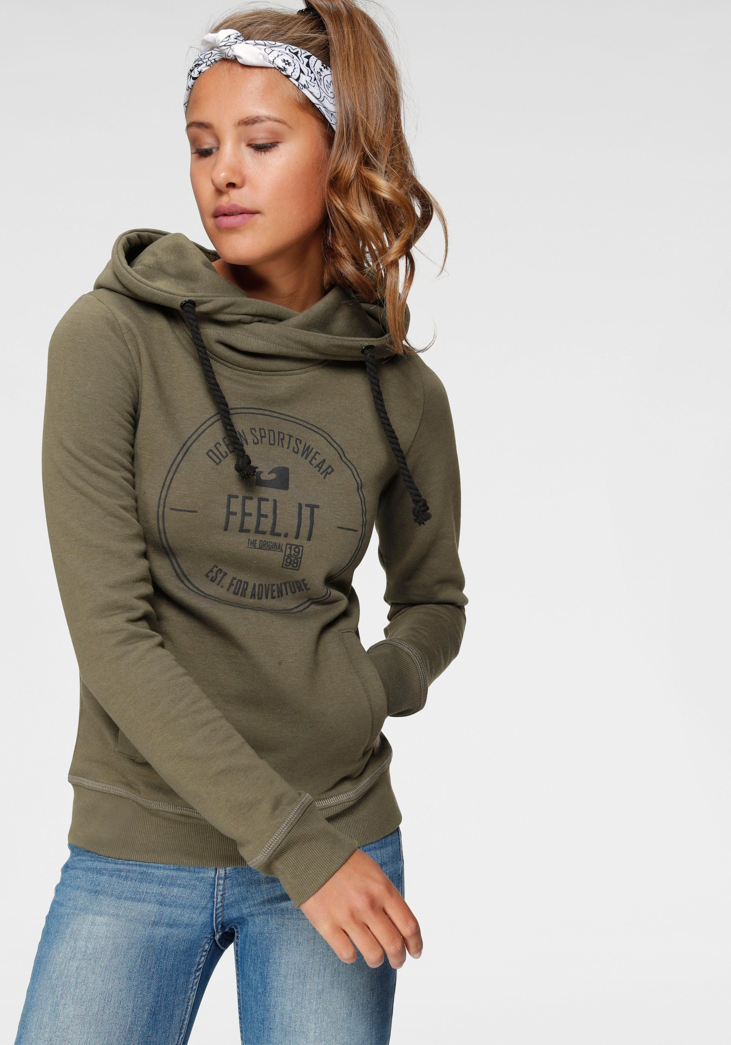 Ocean Sportswear Kapuzensweatshirt Gepunktetes Futter In Taschen Und Kapuze Schwarz