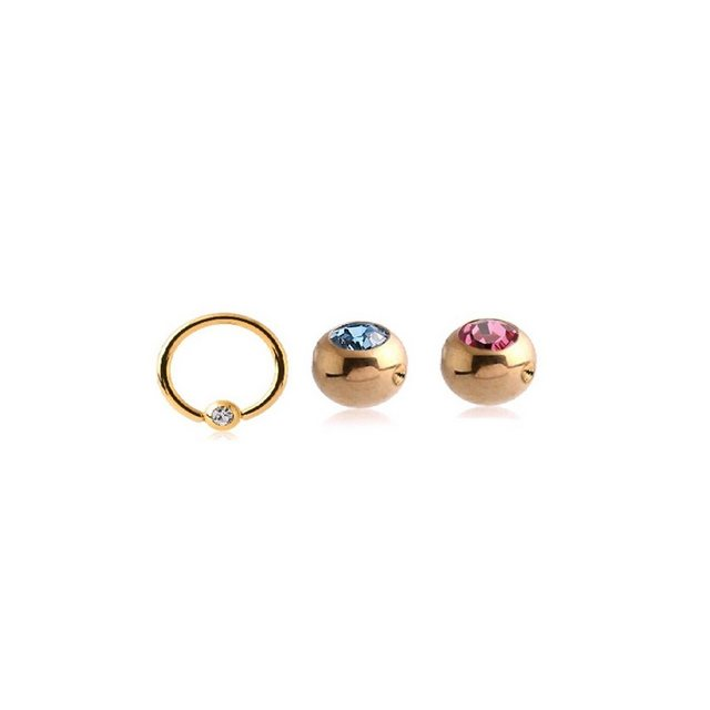 BodyJewel Piercing-Set »Ring, 3-teilig, Kristallsteine, Chirurgenstahl 316L« | Schmuck > Piercings | BodyJewel