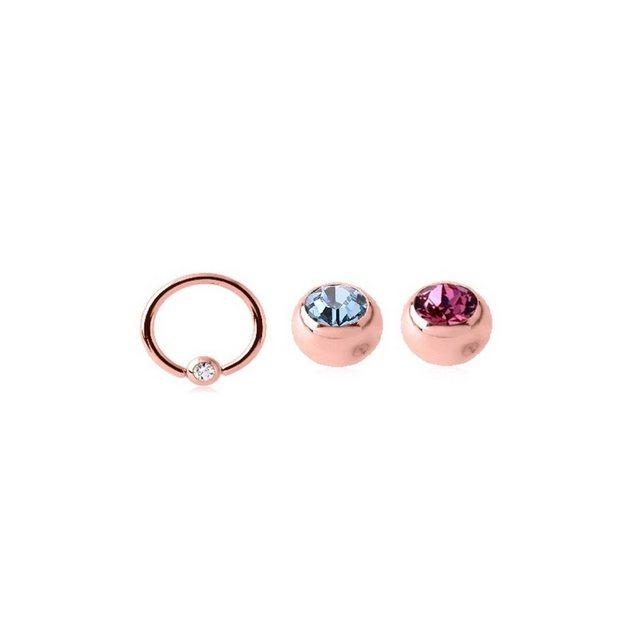 BodyJewel Piercing-Set »Ring, 3-teilig, Kristallsteine, Chirurgenstahl 316L«   Schmuck > Piercings   Rosa   BodyJewel