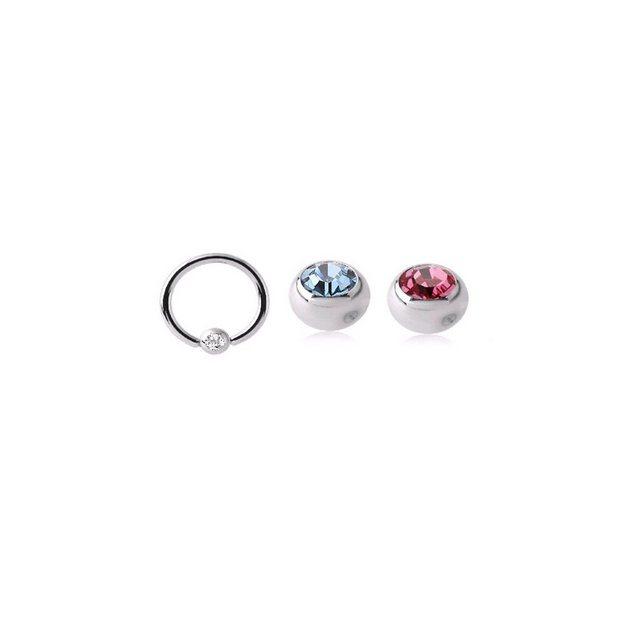 BodyJewel Piercing-Set »Ring, 3-teilig, Kristallsteine, Chirurgenstahl 316L«   Schmuck > Piercings   BodyJewel