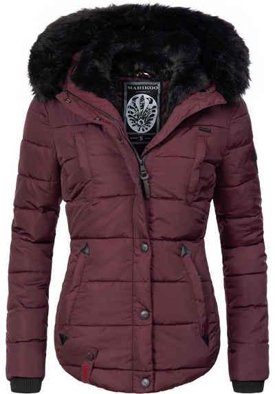 Marikoo Steppjacke »Lotusblüte« hochwertige Winter Jacke mit edler Kunstpelz Kapuze
