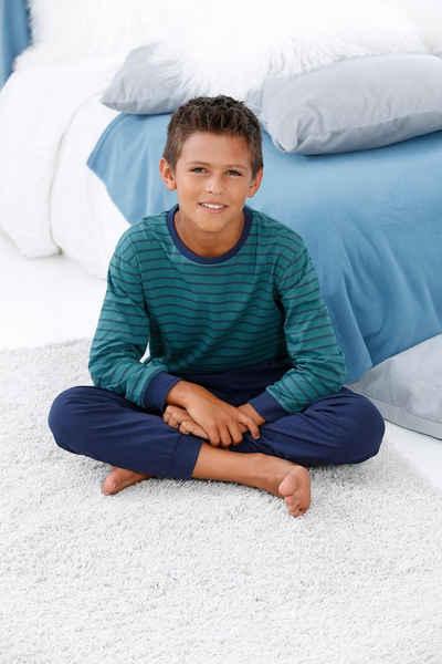 le jogger® Pyjama mit gestreiftem Oberteil