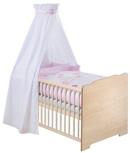 Zöllner Komplettbett »Eulenfamilie«, 7-tlg., Babybett+ Matratze+ Himmelstange+ Himmel+ Nestchen+ Bettwäsche