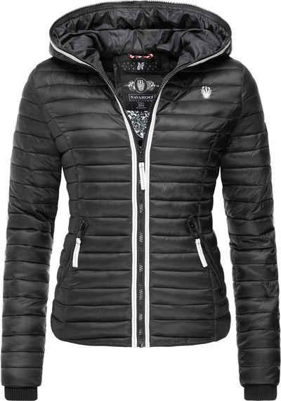 Damen Stepp Jacke Übergang Kapuze Daunen Look Schwarz Größe XS S M L XL K20