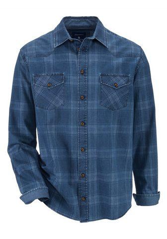 Рубашка джинсовая с bedrucktem клетчат...