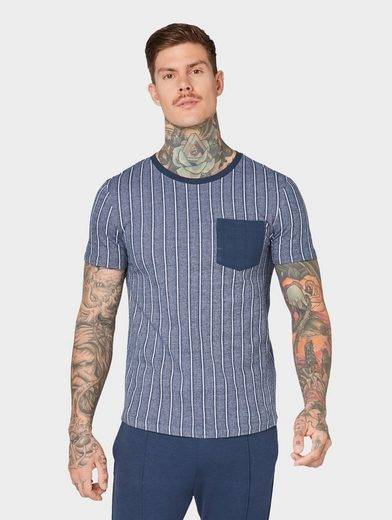 TOM TAILOR Denim T-Shirt »Gestreiftes T-Shirt mit Brusttasche«