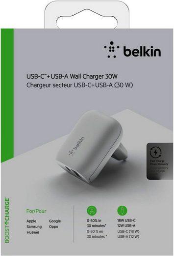 Belkin Lader »30W PD Dual Ladegerät, 18W USB-C und 12W USB-A«