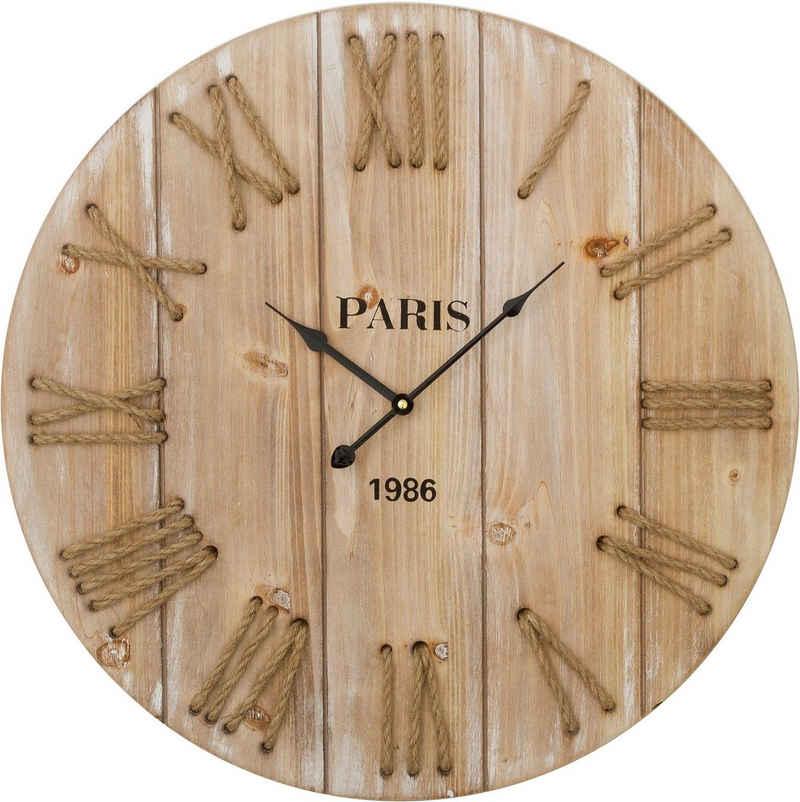 Home affaire Wanduhr »Wilbur« (XXL, aus Holz, rund, Ø 58 cm, römische Ziffern)