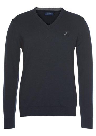 Gant V-Ausschnitt-Pullover Feinstrickqualität aus reiner Baumwolle