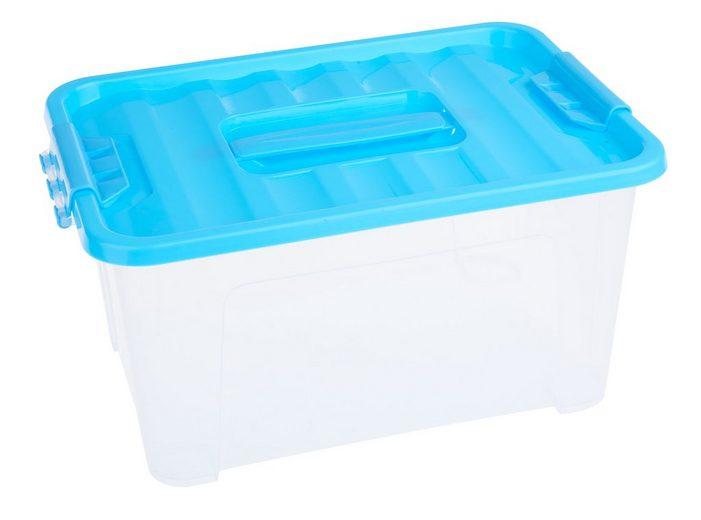 """Kunststoff-Box mit blauem Deckel """"transparent"""" stapelbar"""