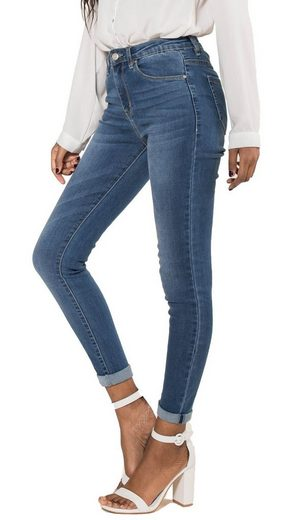 Nina Carter Skinny-fit-Jeans »3518« Damen Denim High Waist Jeans Skinny Fit Umschlag Stretch Hose