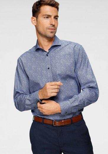 Class International Businesshemd Alloverprint, kontrastfarbene Knöpfe