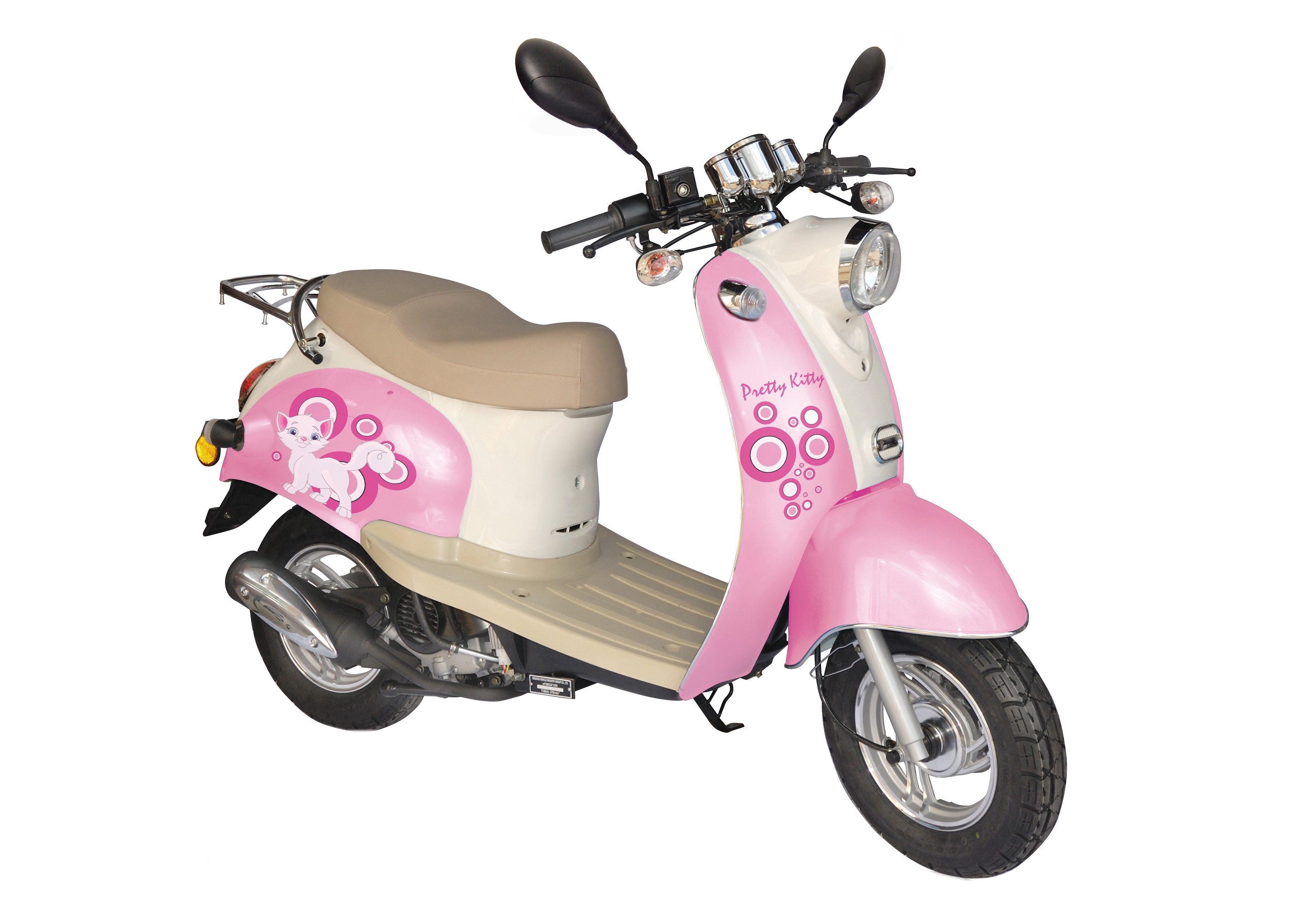 Retro-Mofaroller, Nova Motors, »Venezia II«, Pretty Kitty, 50 ccm 25 km/h, rosa-weiß