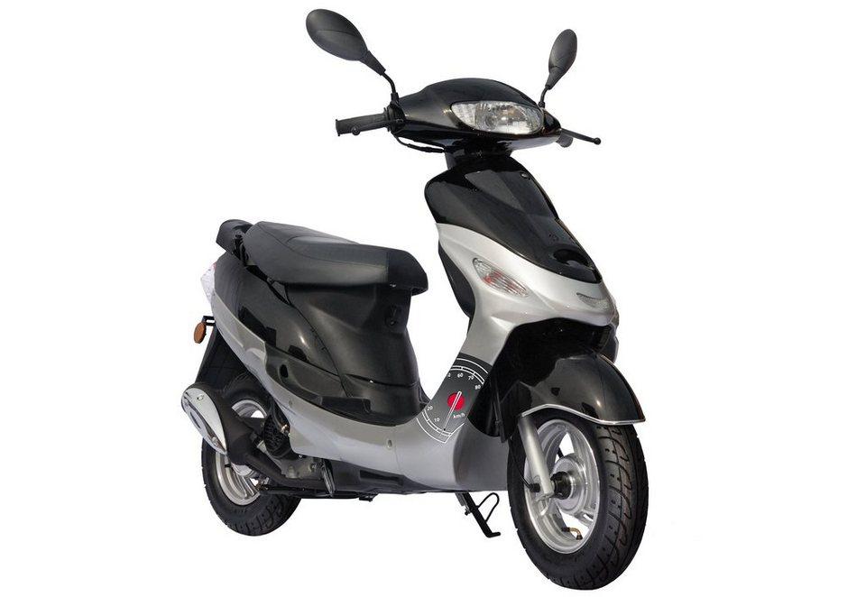 Motorroller inkl. Spiegel, Nova Motors, »Eco Fox«, 50 ccm 45 km/h, silber-schwarz oder rot-schwarz in silberfarben-schwarz