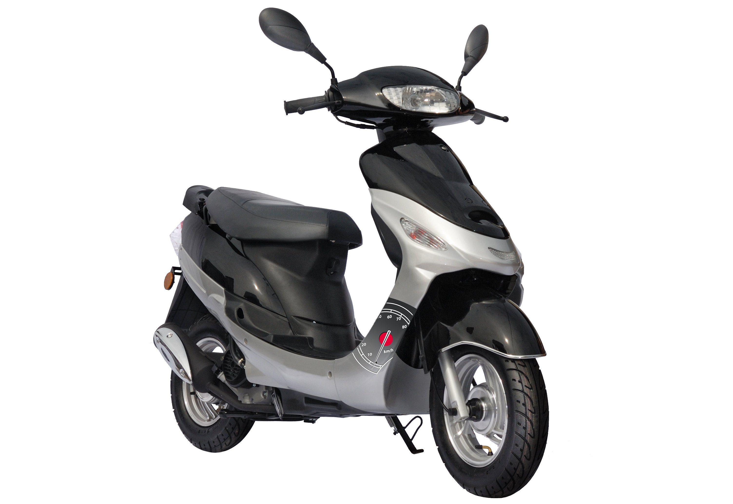 Motorroller inkl. Spiegel, Nova Motors, »Eco Fox«, 50 ccm 45 km/h, silber-schwarz oder rot-schwarz