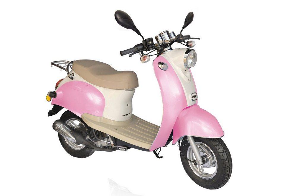 Retro-Mofaroller, Nova Motors, »Venezia II«, 49-ccm, 25 km/h in rosa-weiß