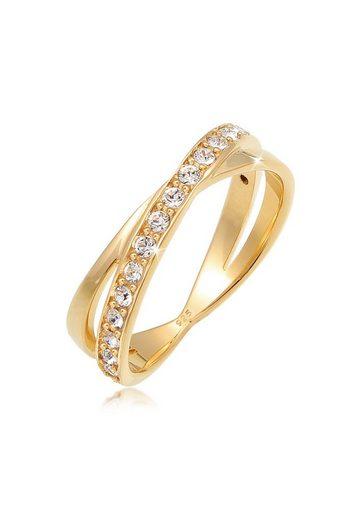 Elli Fingerring »Wickelring Kristalle 925 Silber«