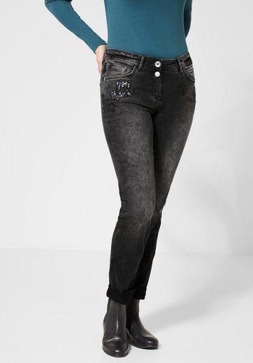 Cecil Slim-fit-Jeans mit Pailletten-Aufdruck