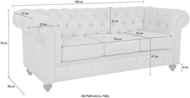Sofas - Home affaire 3 Sitzer »Duc«, hochwertige Knopfheftung, 3 Bezugsqualitäten  - Onlineshop OTTO