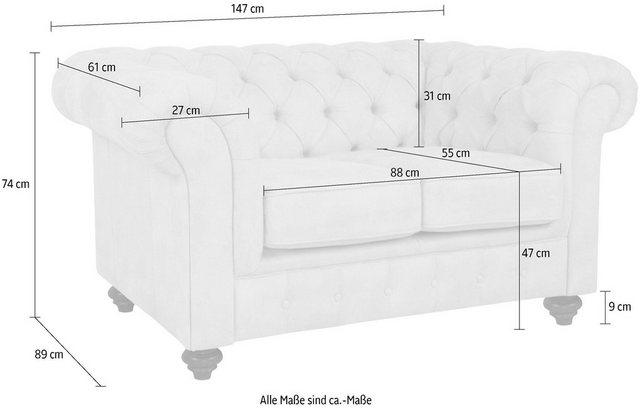 Sofas - Home affaire 2 Sitzer »Duc«, hochwertige Knopfheftung, 3 Bezugsqualitäten  - Onlineshop OTTO