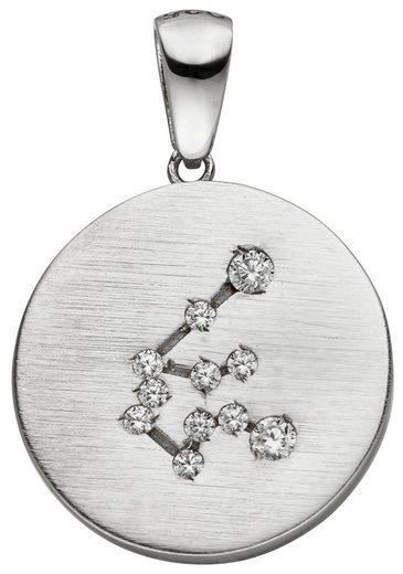 JOBO Sternzeichenanhänger »Sternzeichen Wassermann« 925 Silber matt mit 11 Zirkonia