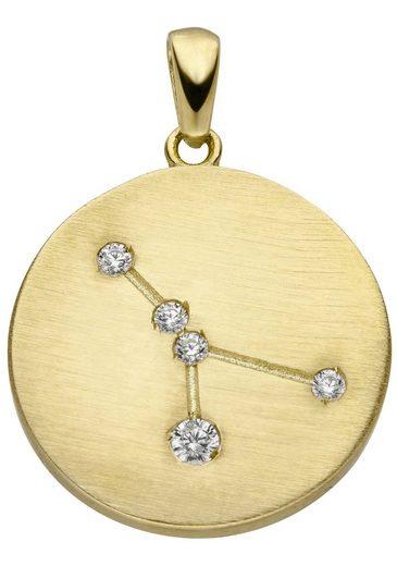 JOBO Sternzeichenanhänger »Sternzeichen Krebs«, 333 Gold matt mit 5 Zirkonia