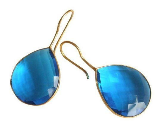 Gemshine Paar Ohrhänger »Blautopas Quarz Tropfen«, Made in Spain