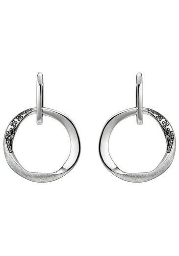 JOBO Paar Ohrhänger 925 Silber eismatt mit 18 Zirkonia