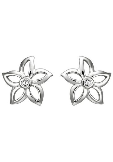 JOBO Paar Ohrstecker »Blume«, 925 Silber mit 2 Zirkonia