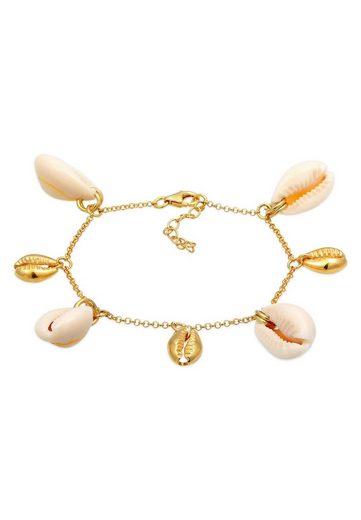 Elli Armband »Echte Kauri Muscheln Sommer 925 Silber vergoldet«