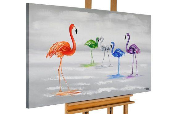 KUNSTLOFT Gemälde »Farbige Flamingos«, handgemaltes Bild auf Leinwand