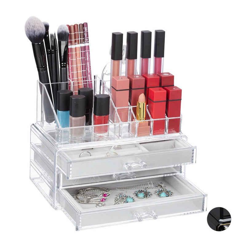 relaxdays Make-Up Organizer »Make Up Organizer mit Schmuckkästchen«
