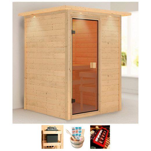KARIBU Sauna »Nadja«, 174x160x202 cm, ohne Ofen, Dachkranz