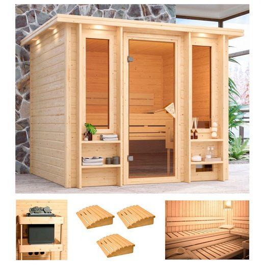 KARIBU Sauna »Ilona«, 259x210x206 cm, ohne Ofen, Dachkranz