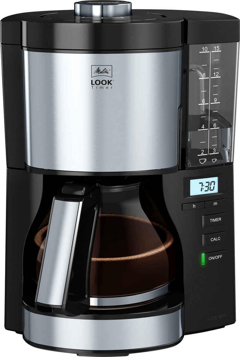Melitta Filterkaffeemaschine Look V Timer 1025-08 schwarz, 1,25l Kaffeekanne, Papierfilter 1x4
