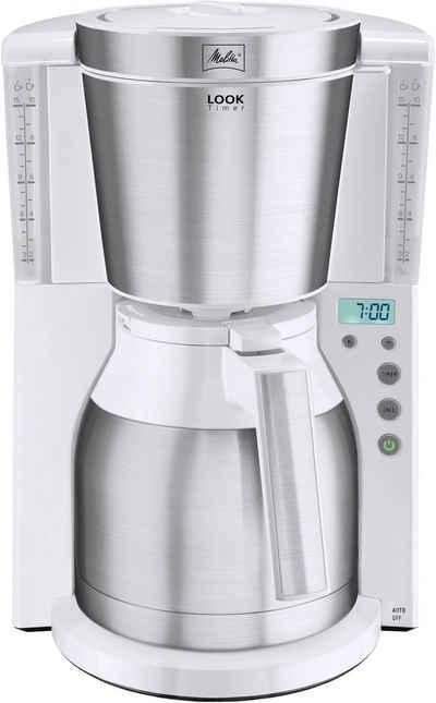 Melitta Filterkaffeemaschine Look IV Therm Timer 1011-15 weiß-Edelstahl, 1,1l Kaffeekanne, Papierfilter 1x4